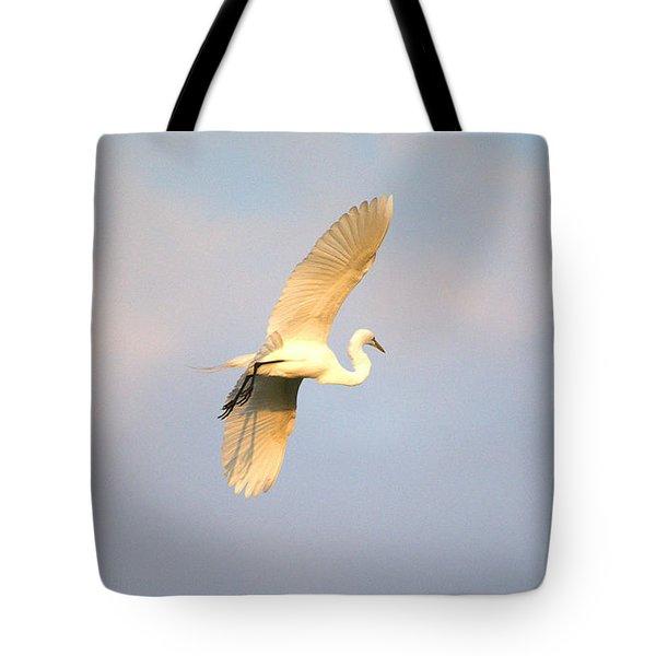 Great Egret Bathed In Golden Sunlight Tote Bag