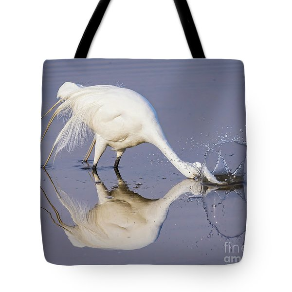 Great Egret Dipping For Food Tote Bag