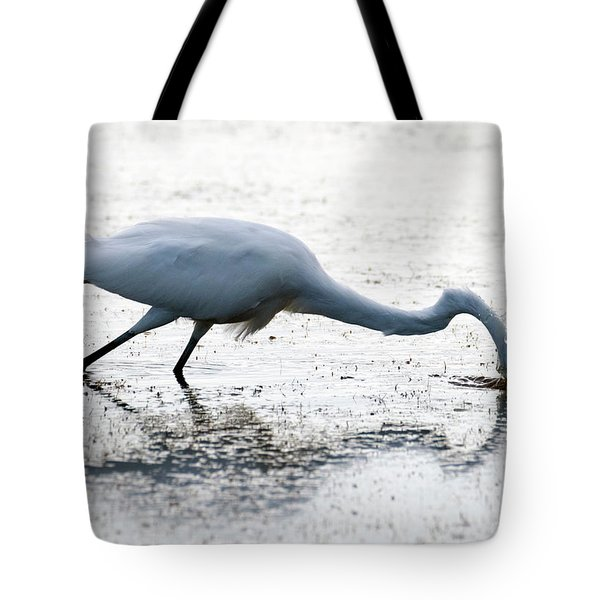 Great Egret Faceplant Tote Bag