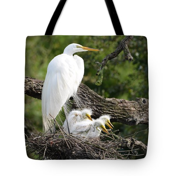 Great Egret Family  Tote Bag by Richard Bryce and Family