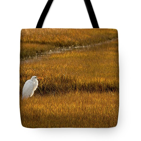 Great Egret In Morning Light Tote Bag
