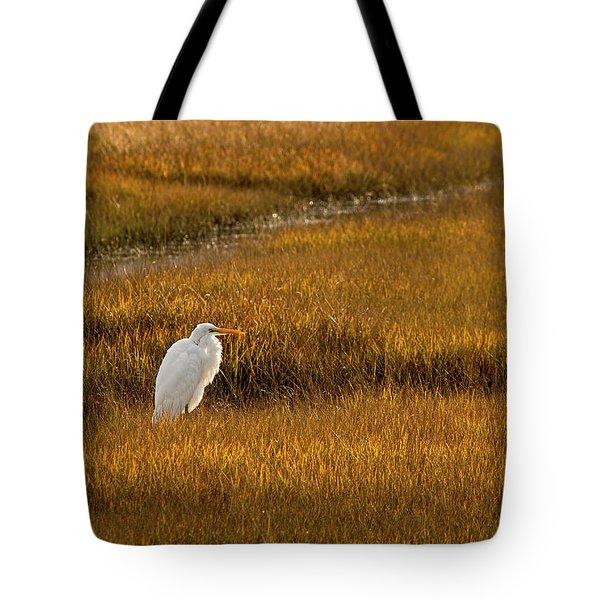 Great Egret In Morning Light Tote Bag