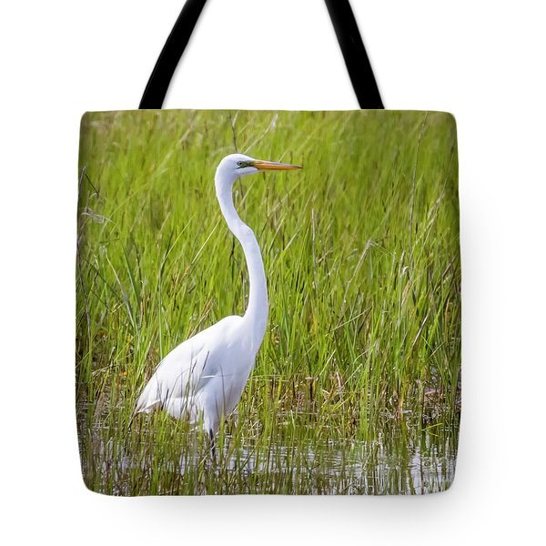 Tote Bag featuring the photograph Great Egret In The Spring  by Ricky L Jones