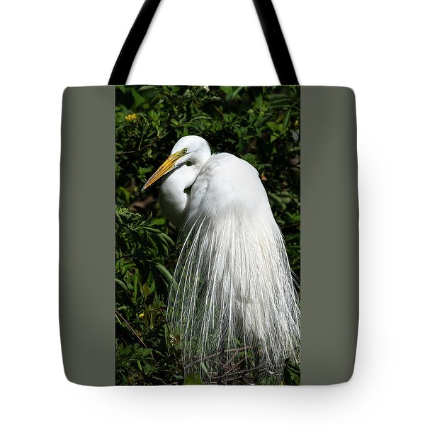 Tote Bag featuring the photograph Great Egret Portrait Two by Steven Sparks