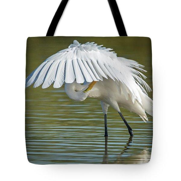 Great Egret Preening 8821-102317-2 Tote Bag