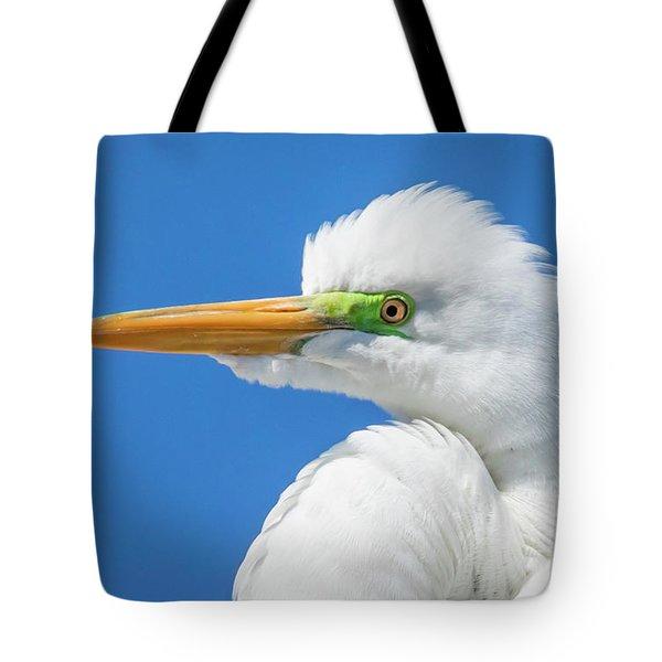 Great Egret Profile Tote Bag by John Roberts