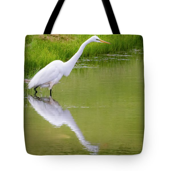 Tote Bag featuring the photograph Great Egret Ready To Pounce by Ricky L Jones