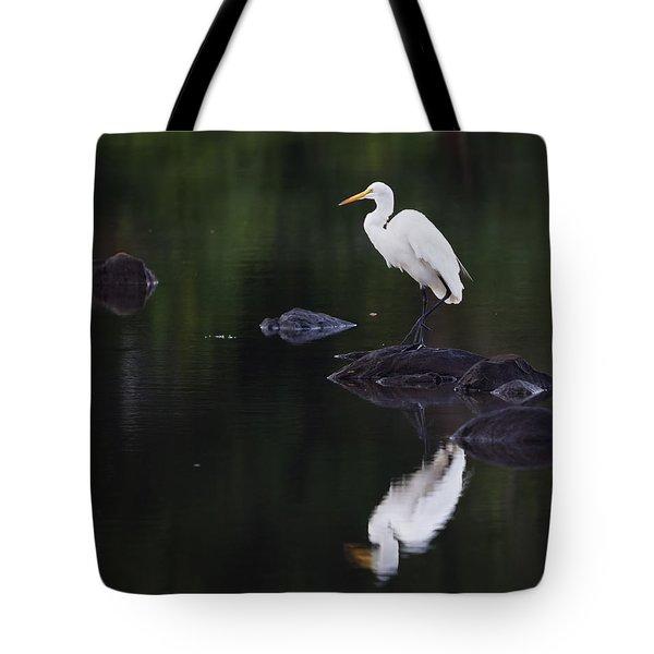 Great Egret Reflection Tote Bag