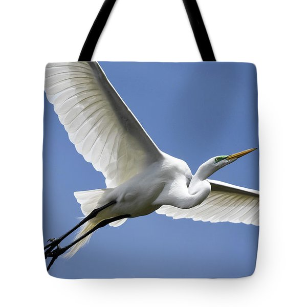 Great Egret Soaring Tote Bag