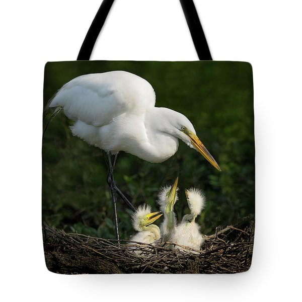 Great Egret With Chicks Tote Bag