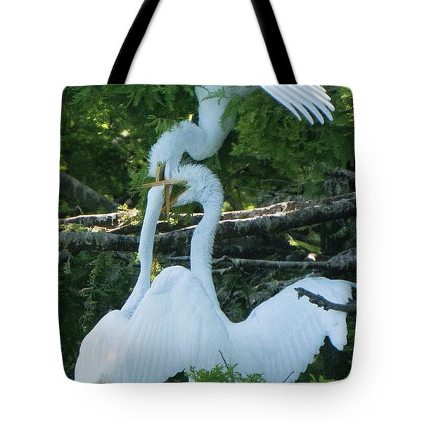 Great Egrets Horsing Around Tote Bag
