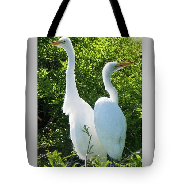 Great Egrets Standing Watch Tote Bag