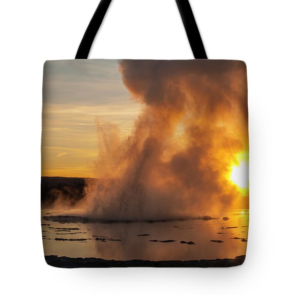 Great Fountain Geyser Sunset - Yellowstone National Park Tote Bag