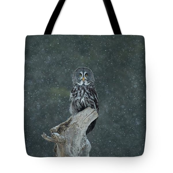 Great Gray Owl In Snowstorm Tote Bag