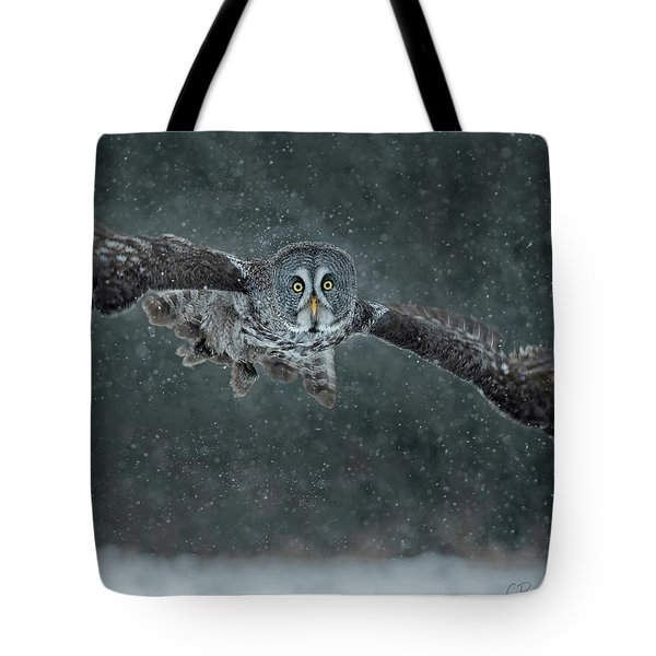 Great Gray Wintery Flight Tote Bag