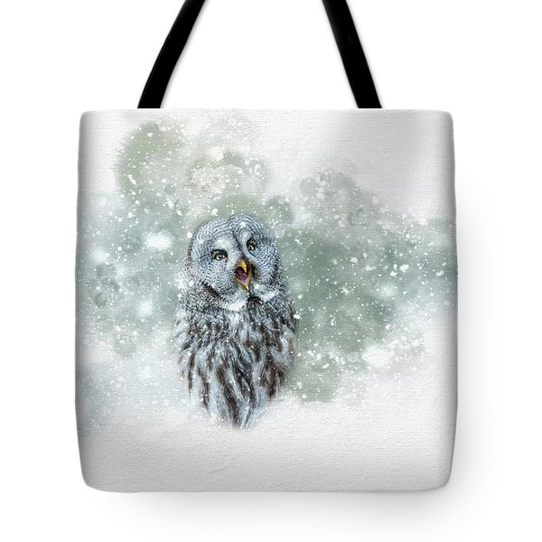 Great Grey Owl In Snowstorm Tote Bag