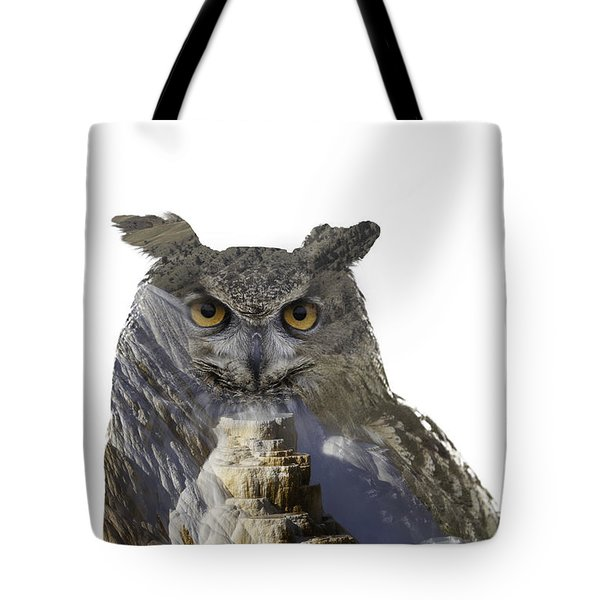 Great Horned Owl And Mammoth Hot Springs Tote Bag