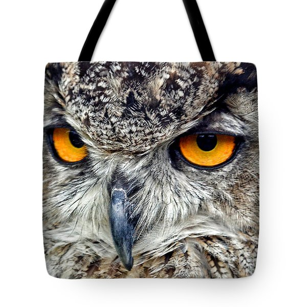 Great Horned Owl Closeup Tote Bag by Jim Fitzpatrick