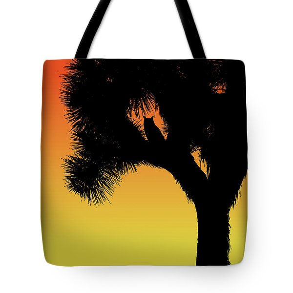 Great Horned Owl In A Joshua Tree Silhouette At Sunset Tote Bag