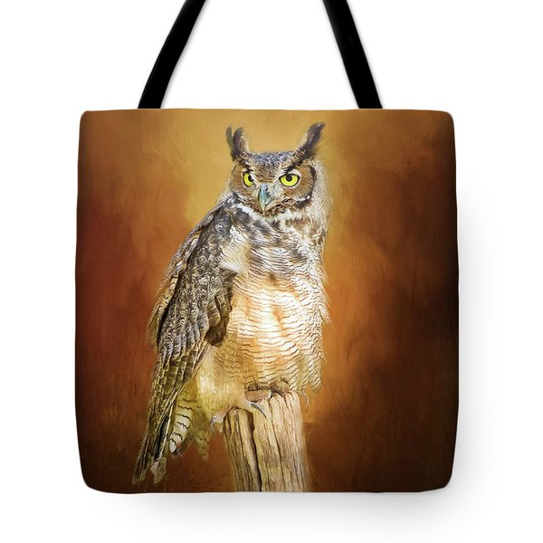 Great Horned Owl In Autumn Tote Bag
