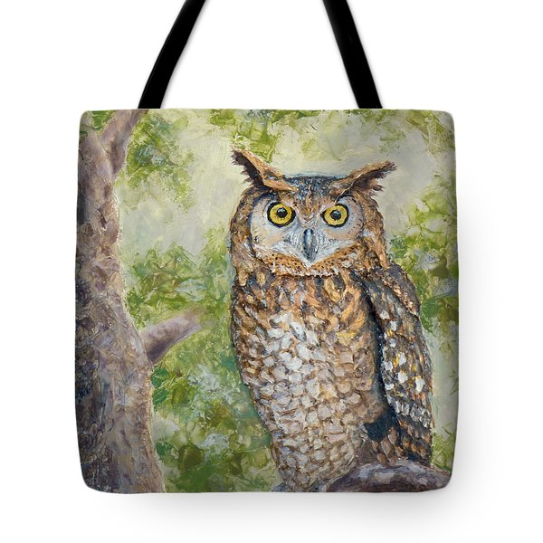 Tote Bag featuring the painting Great Horned Owl by Joe Bergholm