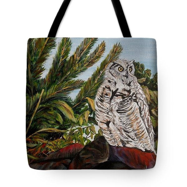 Great Horned Owl - Owl On The Rocks Tote Bag by Marilyn  McNish