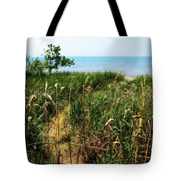 Tote Bag featuring the photograph Great Lake Beach Path by Michelle Calkins