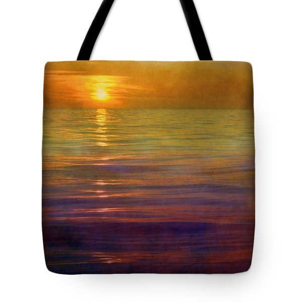 Tote Bag featuring the digital art Great Lakes Setting Sun by Michelle Calkins