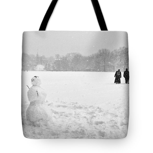 Tote Bag featuring the photograph Great Lawn Blizzard 2008 by Dave Beckerman