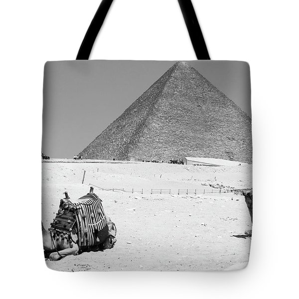 Tote Bag featuring the photograph great pyramids of Giza by Silvia Bruno