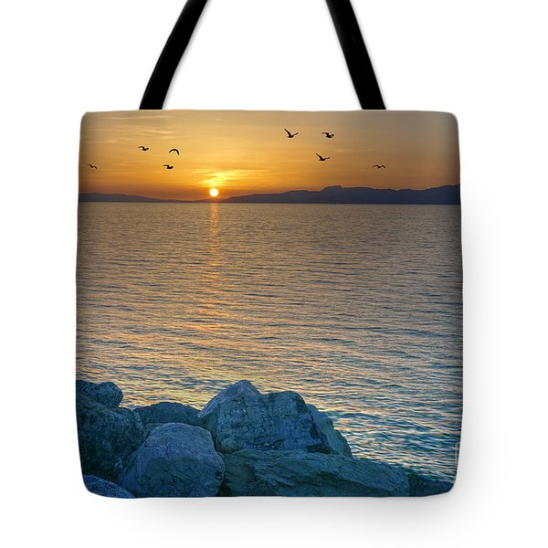 Great Salt Lake At Sunset Tote Bag by Martin Konopacki