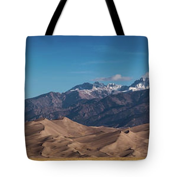 Tote Bag featuring the photograph Great Sand Dunes Panorama 4to1 by Stephen Holst