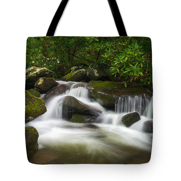 Great Smoky Mountains Gatlinburg Tn Roaring Fork Waterfall Nature Tote Bag
