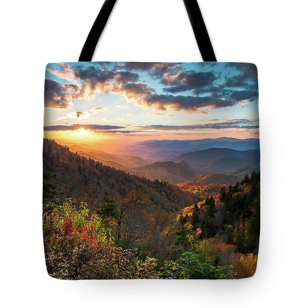 Great Smoky Mountains National Park Nc Scenic Autumn Sunset Landscape Tote Bag
