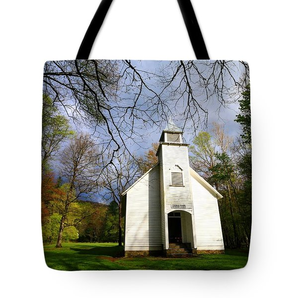 Great Smoky Mountains Spring Storms Over Palmer Chapel  Tote Bag