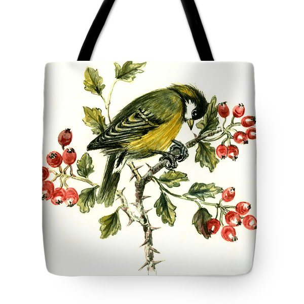 Great Tit On Hawthorn Tote Bag