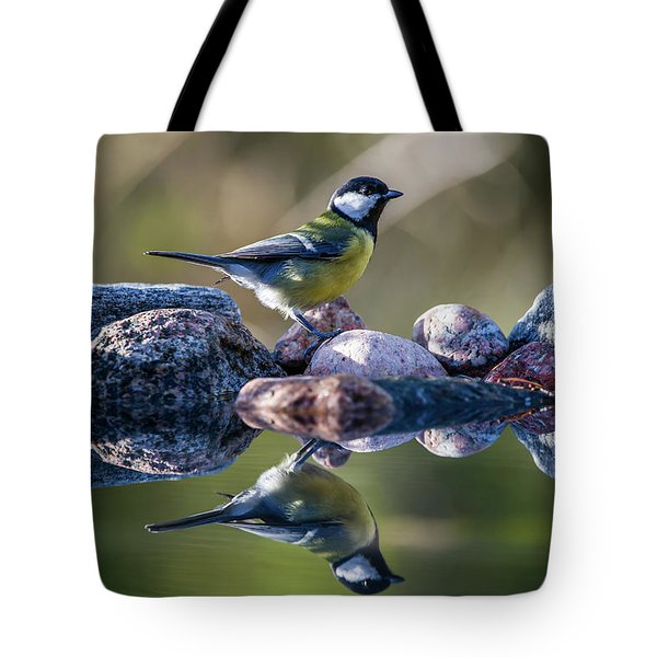 Great Tit On The Stone Tote Bag