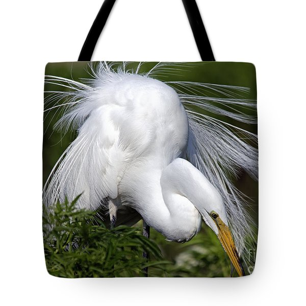 Tote Bag featuring the photograph Great White Egret Displaying Plumage by Mary Lou Chmura