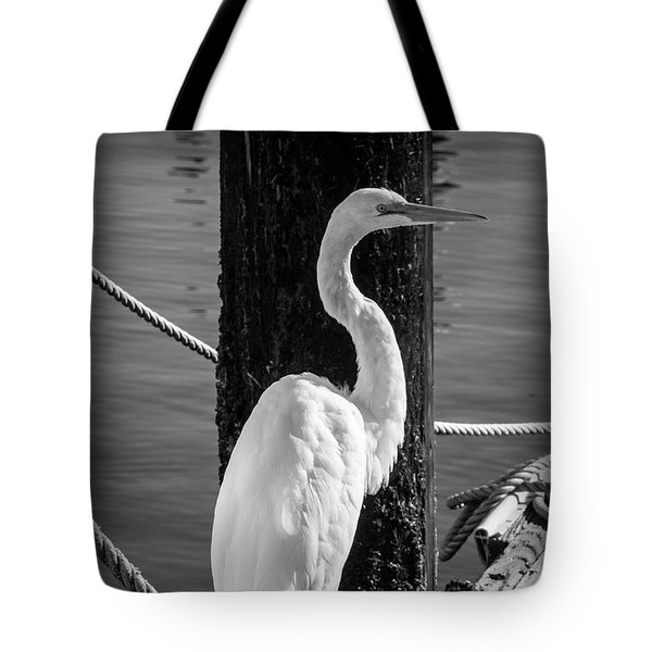 Great White Heron In Black And White Tote Bag by Garry Gay