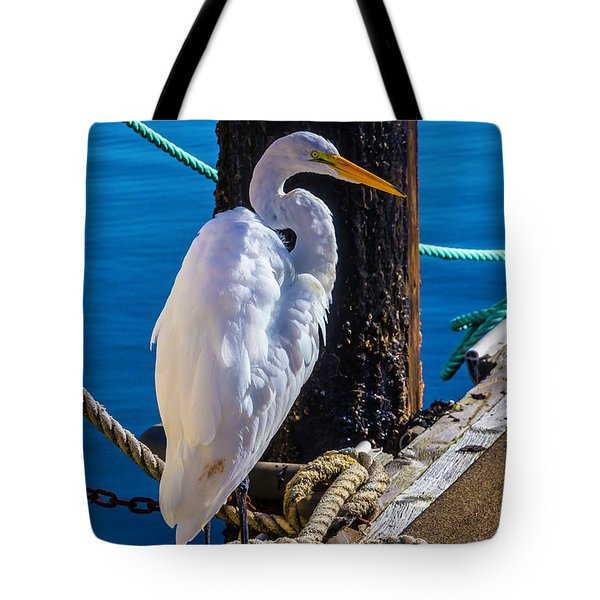 Great White Heron On Boat Dock Tote Bag