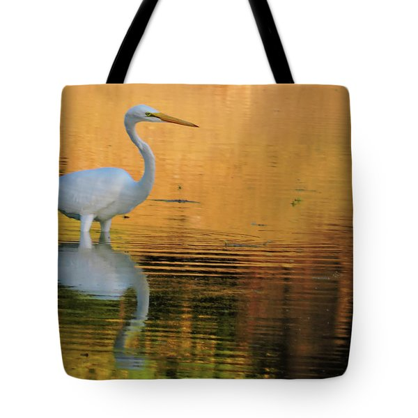 Great White On Gold Tote Bag
