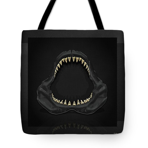 Great White Shark Jaws With Gold Teeth  Tote Bag
