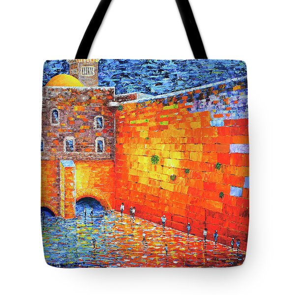 Tote Bag featuring the painting Wailing Wall Greatness In The Evening Jerusalem Palette Knife Painting by Georgeta Blanaru