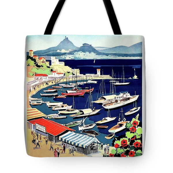 Greece, Port With Small Boats Tote Bag