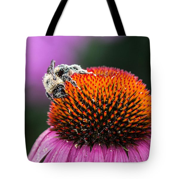 Tote Bag featuring the photograph Greedy Bee by Cathy Donohoue