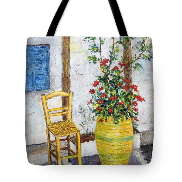 Greek Chair Tote Bag by Lou Ann Bagnall
