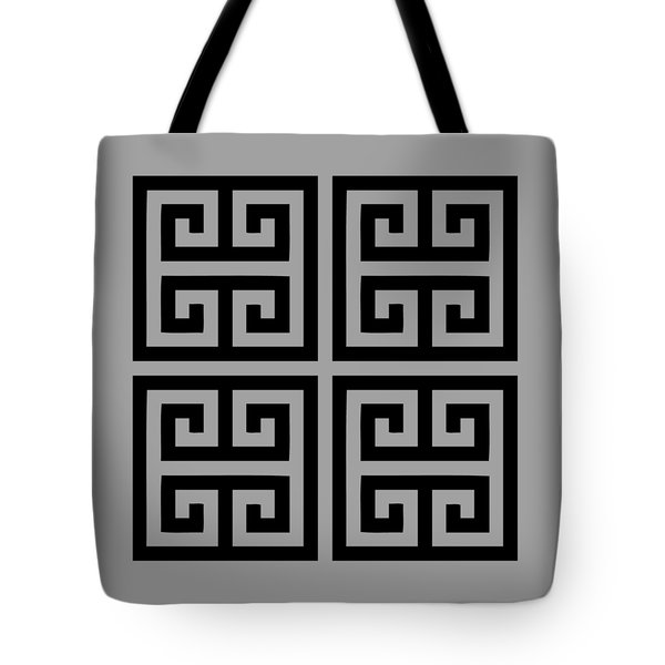 Greek Key Black Background 02-p0108 Tote Bag