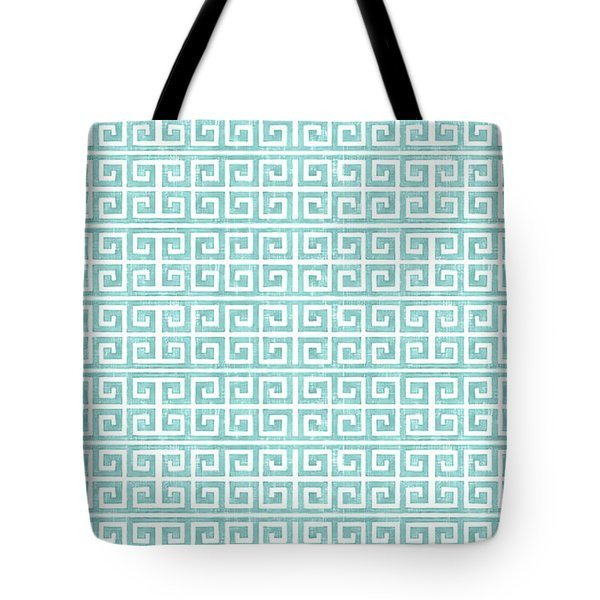 Greek Key Watercolor Pattern Beach Ocean Home Decor Tote Bag