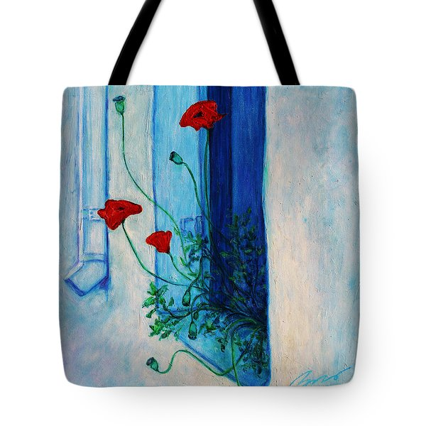 Tote Bag featuring the painting Greek Poppies by Xueling Zou