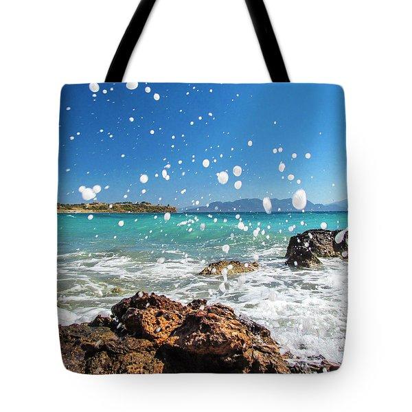 Greek Surf Spray Tote Bag